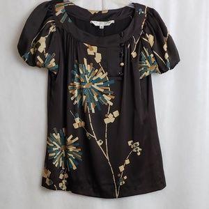 Trina Turk Brown Floral Print 100% Silk Medium
